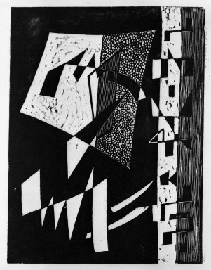 Werner Drewes (American, born Germany, 1899-1984). <em>Composition VII-Two Large Fighting Forms and a Row of Small Forms</em>, 1934. Woodcut on white Japan paper, 9 1/2 x 12 5/8 in. (24.1 x 32 cm). Brooklyn Museum, Anonymous gift, 36.223. © artist or artist's estate (Photo: Brooklyn Museum, 36.223_bw.jpg)
