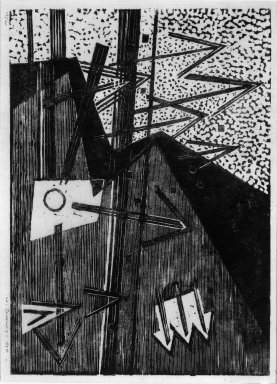 Werner Drewes (American, born Germany, 1899-1984). <em>Composition III-Arrows into Different Directions</em>, 1934. Woodcut on Japan paper, 9 1/16 x 12 5/8 in. (23 x 32 cm). Brooklyn Museum, Anonymous gift, 36.227. © artist or artist's estate (Photo: Brooklyn Museum, 36.227_bw.jpg)