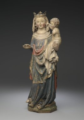 <em>Statue of the Virgin and Child</em>, late 13th-early 14th century. Polychrome oak, 19 x 7 x 6 in. (48.3 x 17.8 x 15.2 cm). Brooklyn Museum, Gift of Mrs. Frederic B. Pratt, 36.230. Creative Commons-BY (Photo: Brooklyn Museum, 36.230_front_PS2.jpg)