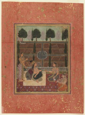 Mughal Style. <em>Ladies on a Terrace</em>, ca. 1700-1710. Opaque watercolor on paper, Sheet: 13 3/4 x 10 1/4 in. (34.9 x 26 cm). Brooklyn Museum, Obtained by exchange with Nasli M. Heeramaneck, 36.231 (Photo: Brooklyn Museum, 36.231_IMLS_PS3.jpg)