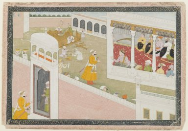 Indian. <em>Leaf from a Dispersed Hamir Hath Series</em>, 1800-1810. Opaque watercolor and gold on paper, sheet: 9 5/8 x 13 7/8 in.  (24.4 x 35.2 cm). Brooklyn Museum, 36.233 (Photo: Brooklyn Museum, 36.233_IMLS_PS4.jpg)