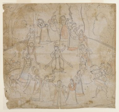 <em>Rasa Mandala: Krishna Dancing with the Gopis</em>, 1810-1820. Ink and light washes of color on paper, 10 1/2 x 11 1/8 in. (26.7 x 28.3 cm). Brooklyn Museum, By exchange, 36.234 (Photo: Brooklyn Museum, 36.234_IMLS_PS4.jpg)