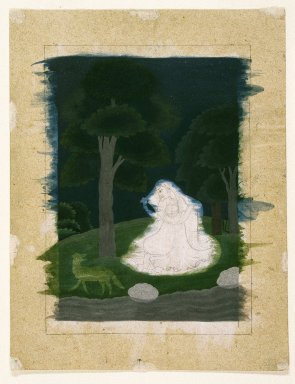 Indian. <em>Utka Nayika</em>, late 18th century. Opaque watercolor on paper, sheet: 9 13/16 x 7 9/16 in.  (24.9 x 19.2 cm). Brooklyn Museum, Gift of Dr. Ananda K. Coomaraswamy, 36.241 (Photo: Brooklyn Museum, 36.241_IMLS_SL2.jpg)
