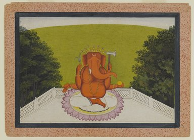 Indian. <em>Ganesha</em>, ca. 1775-1800. Opaque watercolor on paper, sheet: 8 3/16 x 11 5/16 in.  (20.8 x 28.7 cm). Brooklyn Museum, Gift of Dr. Ananda K. Coomaraswamy, 36.242 (Photo: Brooklyn Museum, 36.242_PS4.jpg)