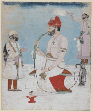 Indian. <em>Portrait of Raja Sansar Chand of Kangra</em>, ca. 1800-1810. Opaque watercolor and gold on paper, sheet: 8 3/4 x 7 1/4 in.  (22.2 x 18.4 cm). Brooklyn Museum, Gift of Dr. Ananda K. Coomaraswamy, 36.243 (Photo: Brooklyn Museum, 36.243_IMLS_PS3.jpg)