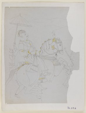Indian. <em>Equestrian Portrait of Ram Singh II of Kota</em>, ca. 1850. Ink and color on paper, sheet: 10 5/8 x 8 3/8 in.  (27.0 x 21.3 cm). Brooklyn Museum, Gift of Dr. Ananda K. Coomaraswamy, 36.246 (Photo: Brooklyn Museum, 36.246_IMLS_PS3.jpg)