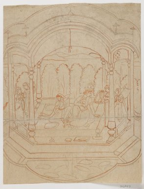 <em>Large First Drawing for a Miniature Painting</em>, late 18th century. Brush, charcoal, 12 1/2 x 9 5/8 in. (31.7 x 24.5 cm). Brooklyn Museum, Gift of Dr. Ananda K. Coomaraswamy, 36.247 (Photo: Brooklyn Museum, 36.247_IMLS_PS4.jpg)