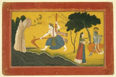 Indian. <em>Balamara Diverting the Course of the Yamuna River with his Plough</em>, ca. 1760-1765. Opaque watercolor and gold on paper, sheet: 7 5/16 x 11 3/16 in.  (18.6 x 28.4 cm). Brooklyn Museum, A. Augustus Healy Fund and Frank L. Babbott Fund, 36.250 (Photo: Brooklyn Museum, 36.250_IMLS_SL2.jpg)