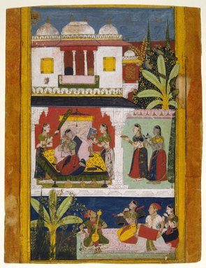 Indian. <em>Belavala Ragini, Page from a Dispersed Ragamala Series</em>, ca. 1680. Opaque watercolor and gold on paper, sheet: 14 15/16 x 11 1/2 in.  (37.9 x 29.2 cm). Brooklyn Museum, A. Augustus Healy Fund and Frank L. Babbott Fund, 36.253 (Photo: Brooklyn Museum, 36.253_SL1.jpg)