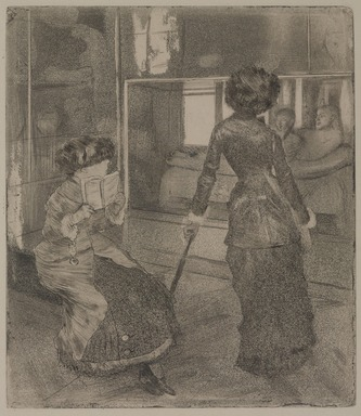 Edgar Degas (French, 1834-1917). <em>Mary Cassatt at the Louvre: The Etruscan Gallery</em>, 1879-1880. Etching, drypoint, aquatint, and softground etching on Arches paper, Image: 10 1/2 x 9 3/16 in. (26.7 x 23.3 cm). Brooklyn Museum, Museum Collection Fund, 36.255 (Photo: , 36.255_PS9.jpg)
