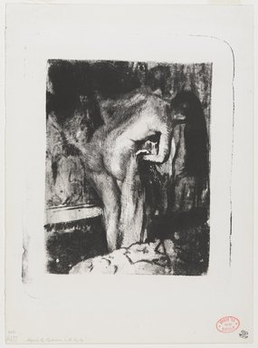 Edgar Degas (French, 1834-1917). <em>After the Bath II (Après le Bain II)</em>, 1891-1892. Lithograph with black oil-based printing ink, Sheet: 11 7/8 × 8 3/4 in. (30.2 × 22.2 cm). Brooklyn Museum, Brooklyn Museum Collection, 36.259 (Photo: , 36.259_PS9.jpg)