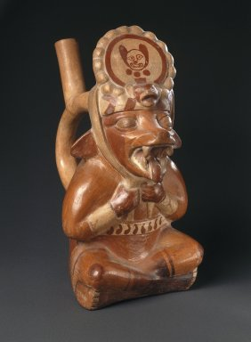 Moche. <em>Fox Runner Effigy Vessel</em>, ca. 400-700. Ceramic, pigments, 10 3/4 x 5 3/4 x 8 7/8 in. (27.3 x 14.6 x 22.5 cm). Brooklyn Museum, Gift of Mrs. Eugene Schaefer, 36.332. Creative Commons-BY (Photo: Brooklyn Museum, 36.332_SL1.jpg)