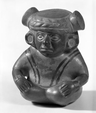 Moche. <em>Portrait Vase of Seated Figure</em>. Ceramic Brooklyn Museum, Gift of Mrs. Eugene Schaefer, 36.335. Creative Commons-BY (Photo: Brooklyn Museum, 36.335_bw.jpg)