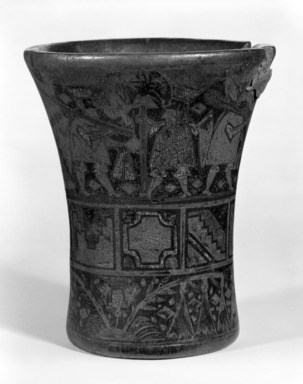 Inca. <em>Kero Cup</em>, 17th-18th century. Wood, pigment, 7 1/8 x 6 in. (18.1 x 15.2 cm). Brooklyn Museum, Gift of Mrs. Eugene Schaefer, 36.357. Creative Commons-BY (Photo: Brooklyn Museum, 36.357_bw.jpg)