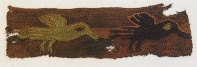 Proto-Nazca. <em>Textile Fragment, Unascertainable, Border or Textile Fragment, Undetermined</em>, 200-600 C.E. Cotton, camelid fiber, 1 3/4 x 6 7/8 in. (4.5 x 17.5 cm). Brooklyn Museum, Gift of Mrs. Eugene Schaefer, 36.424. Creative Commons-BY (Photo: Brooklyn Museum, 36.424_front_PS5.jpg)