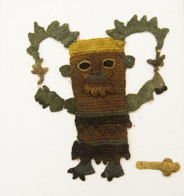Chimú. <em>Textile Fragment, Unascertainable or Looped Figure</em>, 1400-1532. Cotton, camelid fiber, (17.0 x 15.0 cm). Brooklyn Museum, Gift of Mrs. Eugene Schaefer, 36.425. Creative Commons-BY (Photo: Brooklyn Museum, 36.425_front_PS5.jpg)