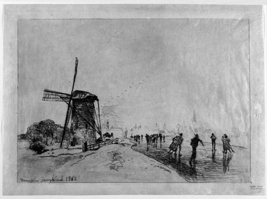 Johan Barthold Jongkind (Dutch, 1819-1891). <em>The Town of Maaslins, Holland</em>, 1862. Etching on thin Japan tissue paper, 8 13/16 x 12 7/16 in. (22.4 x 31.6 cm). Brooklyn Museum, Gift of Mrs. William A. Putnam, 36.486 (Photo: Brooklyn Museum, 36.486_bw.jpg)