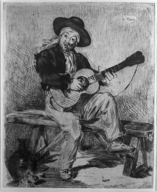 Édouard Manet (French, 1832-1883). <em>Le Guitariste</em>, 1861-1862. Etching and drypoint on laid paper, 11 3/4 x 9 1/2 in. (29.8 x 24.2 cm). Brooklyn Museum, Brooklyn Museum Collection, 36.489 (Photo: Brooklyn Museum, 36.489_acetate_bw.jpg)