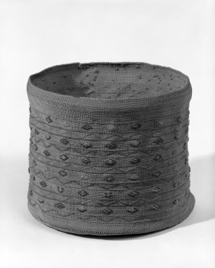 Aleut. <em>Basket and Lid</em>, late 19th-early 20th century. Straw, wool, 1 3/4 x 4 1/2 in. (4.5 x 11.5 cm). Brooklyn Museum, Gift of Frederic B. Pratt, 36.496. Creative Commons-BY (Photo: Brooklyn Museum, 36.496_bw.jpg)