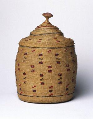 Aleut. <em>Basket and Lid</em>, early 20th century. Rye grass, wool, 7 1/4 x 6 1/8 x 6 1/8 in. (18.4 x 15.6 x 15.6 cm). Brooklyn Museum, Gift of Frederic B. Pratt, 36.498a-b. Creative Commons-BY (Photo: Brooklyn Museum, 36.498a-b_SL1.jpg)