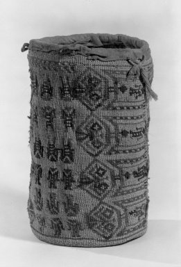 Wasco/Wishram. <em>Basketry Bag</em>. Plant fiber, hide, hair, 9 1/4 x 6 7/8 in. (23.5 x 17.4 cm). Brooklyn Museum, Gift of Frederic B. Pratt, 36.499. Creative Commons-BY (Photo: Brooklyn Museum, 36.499_acetate_bw.jpg)
