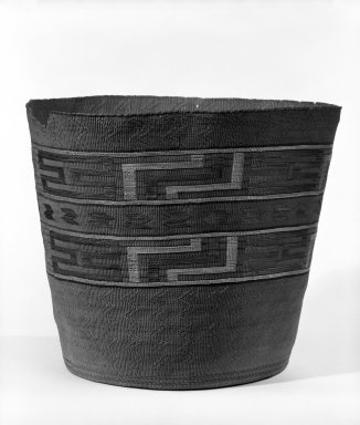 Tlingit. <em>Twined Basket with Geometric Design</em>, late 19th-early 20th century. Spruce root, grass, maidenhair fern, 10 3/4 x 9 1/4 in or (28.5 x 24.0 cm). Brooklyn Museum, Gift of Frederic B. Pratt, 36.505. Creative Commons-BY (Photo: Brooklyn Museum, 36.505_bw.jpg)