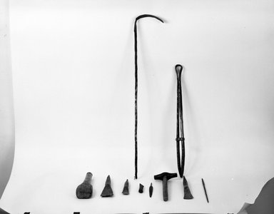 Kwanga. <em>Raking Implement (Sikongyeto)</em>, late 19th-early 20th century. Iron, 30 3/4 x 1 1/8 in. (78.0 x 3.0 cm). Brooklyn Museum, Museum Collection Fund, 36.531. Creative Commons-BY (Photo: Brooklyn Museum, 36.531_bw.jpg)