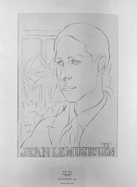 Juan Gris (Spanish, 1887-1927). <em>Jean Le Musicien</em>, 1921. Lithograph on loose China paper, 12 13/16 x 8 7/8 in. (32.5 x 22.5 cm). Brooklyn Museum, A. Augustus Healy Fund, 36.58 (Photo: Brooklyn Museum, 36.58_acetate_bw.jpg)