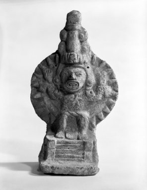 <em>Temple Model with Deity</em>, 1200-1500. Ceramic:  Clay, 6 x 3 3/4 x 2 3/4 in. Brooklyn Museum, Carll H. de Silver Fund, 36.598. Creative Commons-BY (Photo: Brooklyn Museum, 36.598_bw.jpg)