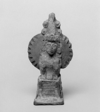 Aztec. <em>Temple Model with Ehecatl</em>, 1200-1500. Ceramic, white slip, 6 1/2 x 3 1/2 x 2 3/4 in. (16.5 x 8.9 x 7 cm). Brooklyn Museum, Carll H. de Silver Fund, 36.599. Creative Commons-BY (Photo: Brooklyn Museum, 36.599_bw.jpg)