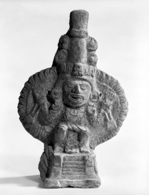Aztec. <em>Temple Model with Deity</em>, 1200-1500. Ceramic, 7 1/2 x 4 5/8 x 3in. (19.1 x 11.7 x 7.6cm). Brooklyn Museum, Carll H. de Silver Fund, 36.601. Creative Commons-BY (Photo: Brooklyn Museum, 36.601_bw.jpg)