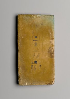 <em>Foundation Brick Naming Hauron</em>, ca. 1426-1400 B.C.E. Faience Brooklyn Museum, Charles Edwin Wilbour Fund, 36.619.10. Creative Commons-BY (Photo: Brooklyn Museum, 36.619.10_PS2.jpg)