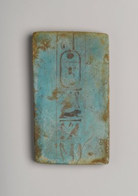 <em>Foundation Brick Naming Hauron</em>, ca. 1426-1400 B.C.E. Faience Brooklyn Museum, Charles Edwin Wilbour Fund, 36.619.11. Creative Commons-BY (Photo: Brooklyn Museum, 36.619.11_PS2.jpg)