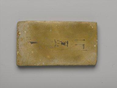 <em>Foundation Brick Naming Hauron</em>, ca. 1426-1400 B.C.E. Faience, avg. length: (14.5 cm). Brooklyn Museum, Charles Edwin Wilbour Fund, 36.619.9. Creative Commons-BY (Photo: Brooklyn Museum, 36.619.9_PS2.jpg)