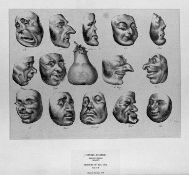 Honoré Daumier (French, 1808-1879). <em>Masks of 1831 (Masques de 1831)</em>, March 8, 1832. Lithograph on laid down China paper, Sheet: 11 x 14 5/16 in. (27.9 x 36.4 cm). Brooklyn Museum, A. Augustus Healy Fund, 36.61 (Photo: Brooklyn Museum, 36.61_acetate_bw.jpg)