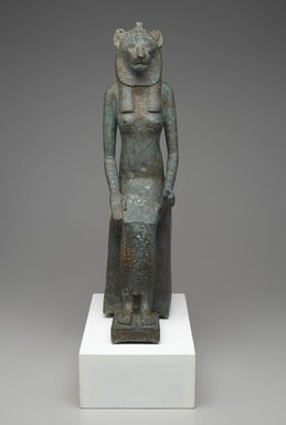 <em>Seated Wadjet</em>, 664 B.C.E. – 332 B.C.E. Bronze, animal remains, 21 1/4 × 5 1/16 × 9 9/16 in. (54 × 12.9 × 24.3 cm). Brooklyn Museum, Charles Edwin Wilbour Fund, 36.622. Creative Commons-BY (Photo: Brooklyn Museum, 36.622_front_PS2.jpg)