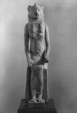 <em>Seated Wadjet</em>, 664–343 B.C.E. Bronze, animal remains, 21 1/4 × 5 1/16 × 9 9/16 in. (54 × 12.9 × 24.3 cm). Brooklyn Museum, Charles Edwin Wilbour Fund, 36.622. Creative Commons-BY (Photo: Brooklyn Museum, 36.622_front_print_bw_SL1.jpg)