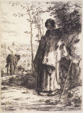 Jean-François Millet (French, 1814-1875). <em>The Large Shepherdess (La Grande Bergère)</em>, 1862. Etching on laid paper, Image: 12 5/8 x 9 3/8 in. (32.1 x 23.8 cm). Brooklyn Museum, Charles Stewart Smith Memorial Fund, 36.65 (Photo: Brooklyn Museum, 36.65_transp1248.jpg)