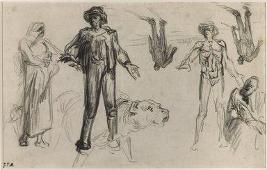 Jean-François Millet (French, 1814-1875). <em>Studies for Harvesters Resting</em>, n.d. Conté crayon on wove paper, Uneven: 7 1/2 x 11 5/8 in. (19.1 x 29.5 cm). Brooklyn Museum, Charles Stewart Smith Memorial Fund, 36.66 (Photo: Brooklyn Museum, 36.66_PS9.jpg)