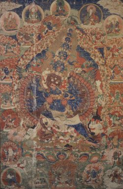 <em>Mahottara Heruka</em>, 19th century. Hanging scroll, color and gold on sized cotton, 78 3/8 x 33 7/16 in. (199 x 85 cm). Brooklyn Museum, Gift of Herbert L. Pratt in memory of his wife, Florence Gibb Pratt    , 36.751. Creative Commons-BY (Photo: Brooklyn Museum, 36.751.jpg)