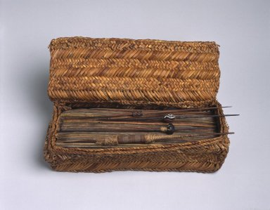 Chancay. <em>Weaver's Work Basket</em>, 1000-1476. Totora reed, cane, wood, clay, camelid and cotton fiber, 3 x 10 3/4 x 6 1/2 in. (7.6 x 27.3 x 16.5 cm). Brooklyn Museum, Gift of Dr. John H. Finney, 36.755.1. Creative Commons-BY (Photo: Brooklyn Museum, 36.755.1_SL1.jpg)