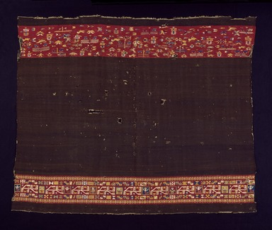 Inca. <em>Anacu or Acsu (Woman's Dress)</em>, late 16th century. Camelid fiber and cotton with embroidered edge-stitching: Wool (camelid) weft-faced plain weave with cotton warps with bands of tapestry (single-locking junctures) and embroidered edge-stitching, 56 x 67 1/2 in. (142.2 x 171.5 cm). Brooklyn Museum, Gift of Dr. John H. Finney, 36.760. Creative Commons-BY (Photo: Brooklyn Museum, 36.760_SL3.jpg)