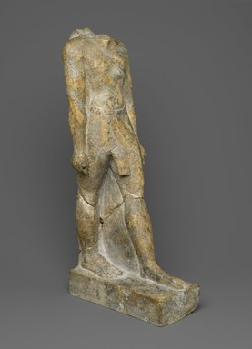 <em>Statue of a Priest, Wen-amun Son of Nes-ba-neb-dedet and Ta-sherit-Khonsu</em>, ca. 50 B.C.E. Limestone, 15 1/2 × 4 13/16 × 7 5/16 in., 10 lb. (39.4 × 12.2 × 18.6 cm, 4.54kg). Brooklyn Museum, Charles Edwin Wilbour Fund, 36.834. Creative Commons-BY (Photo: Brooklyn Museum, 36.834_threequarter_PS2.jpg)