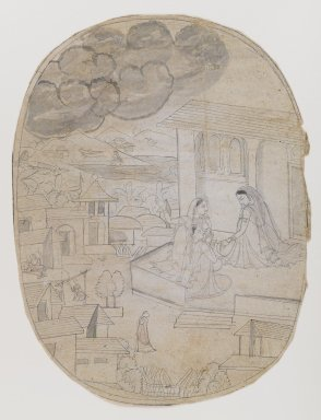 Indian. <em>Illustration of Unidentified Love Poem</em>, 18th century. Ink on paper, sheet: 11 x 8 1/2 in.  (27.9 x 21.6 cm). Brooklyn Museum, By exchange, 36.843 (Photo: Brooklyn Museum, 36.843_IMLS_PS4.jpg)