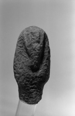 <em>Ushabti</em>, ca. 1352-1336 B.C.E. Limestone, 6 7/8 x 3 1/4 x 2 9/16 in. (17.5 x 8.3 x 6.5 cm). Brooklyn Museum, Gift of the Egypt Exploration Society, 36.874. Creative Commons-BY (Photo: Brooklyn Museum, 36.874_front_bw.jpg)