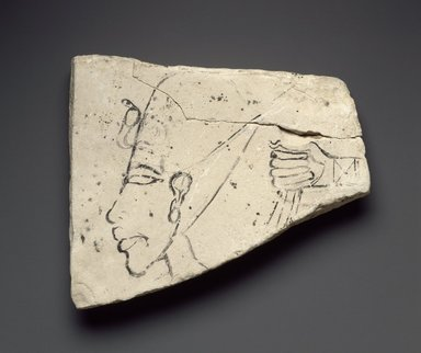 <em>Figured Ostracon with Head of Akhenaten</em>, ca. 1352–1336 B.C.E. Limestone, pigment, 4 11/16 x 5 5/8 x 1 in. (11.9 x 14.3 x 2.5 cm). Brooklyn Museum, Gift of the Egypt Exploration Society, 36.876. Creative Commons-BY (Photo: Brooklyn Museum, 36.876_SL3.jpg)