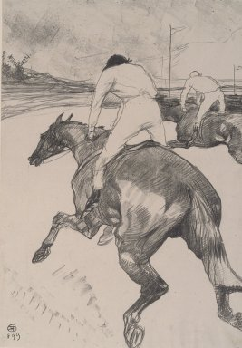 Henri de Toulouse-Lautrec (French, 1864-1901). <em>Le Jockey</em>, 1899. Lithograph on China paper, Image: 20 1/4 x 14 3/16 in. (51.5 x 36 cm). Brooklyn Museum, By exchange, 36.916 (Photo: Brooklyn Museum, 36.916.jpg)