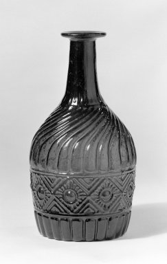 American. <em>Quart Blown Three Mold Decanter</em>, 19th century. Glass, 8 7/16 x 3 3/4 in. (21.5 x 9.5 cm). Brooklyn Museum, Dick S. Ramsay Fund, 36.952. Creative Commons-BY (Photo: Brooklyn Museum, 36.952_bw.jpg)