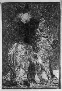 Édouard Manet (French, 1832-1883). <em>The Boy with a Dog (Le Garçon et le chien)</em>, ca. 1862. Etching on China paper, plate: 7 7/8 x 5 9/16 in. (20 x 14.1 cm). Brooklyn Museum, Museum Collection Fund, 36.954 (Photo: Brooklyn Museum, 36.954_acetate_bw.jpg)