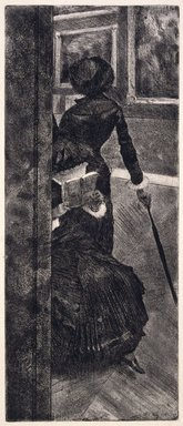 Edgar Degas (French, 1834-1917). <em>Mary Cassatt at the Louvre: The Paintings Gallery (Mary Cassatt au Louvre: La Peinture)</em>, 1879-1880. Etching, drypoint, and aquatint on wove paper, image: 11 7/8 × 4 15/16 in. (30.2 × 12.5 cm). Brooklyn Museum, Museum Collection Fund, 36.955 (Photo: Brooklyn Museum, 36.955_SL1.jpg)